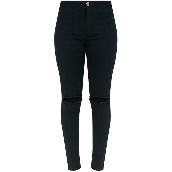 Kylie Black Knee Rip High Waisted Skinny Jean ($38) ❤ liked on Polyvore featuring jeans, pants, bottoms, ripped skinny jeans, distressed jeans, super skinny jeans, super high-waisted skinny jeans and high rise jeans
