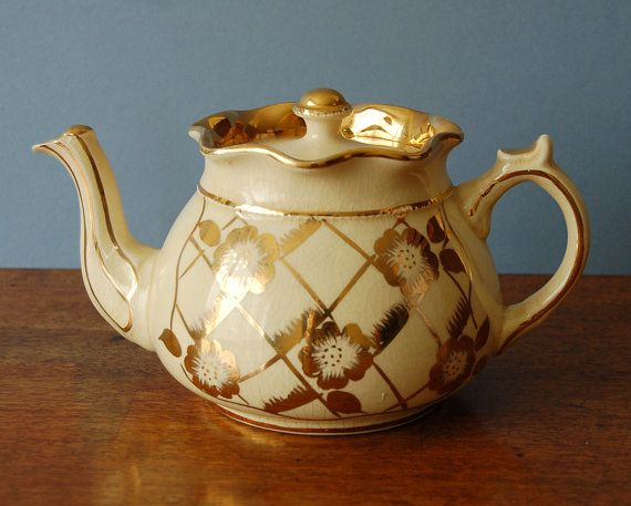 1950s Arthur Wood cream and gold floral teapot by nancyplage, £30.00