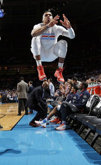 Oklahoma City's Russell Westbrook (0) leaps during his pre-game ritual before an NBA basketball game between the Oklahoma City Thunder and the Portland Trailblazers at the Chesapeake Energy Arena in Oklahoma City, Monday, March 14, 2016. Oklahoma City won 128-94. Photo by Nate Billings, The Oklahoman