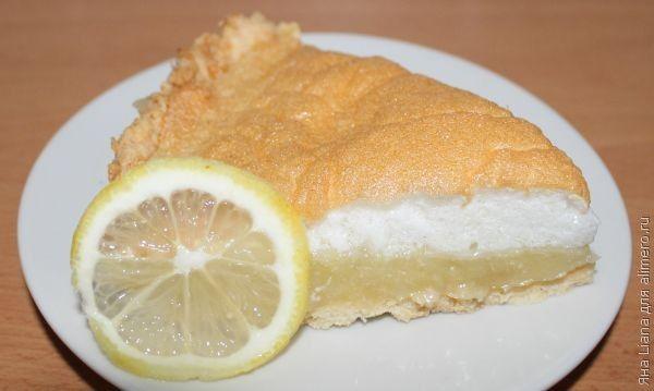 Нежный пирог с мягким безе и лимонным муссом / Рецепты с фото