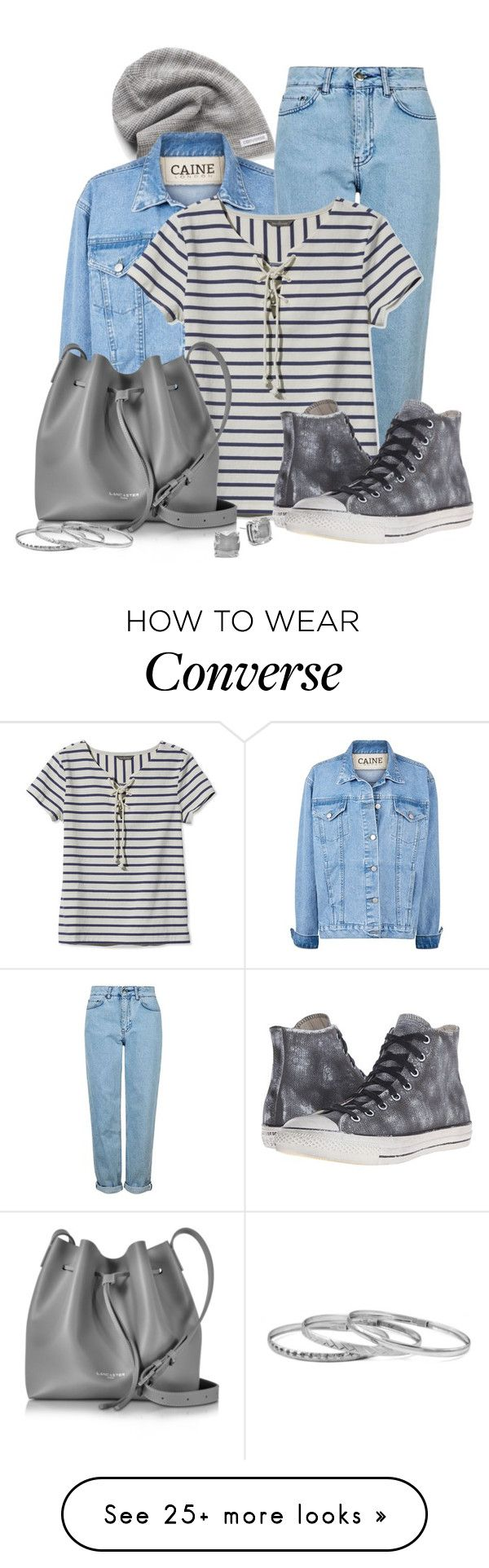 """""""Striped Top"""" by elona-makavelli on Polyvore featuring Converse, Topshop, L.L.Bean, Lancaster and Kate Spade"""