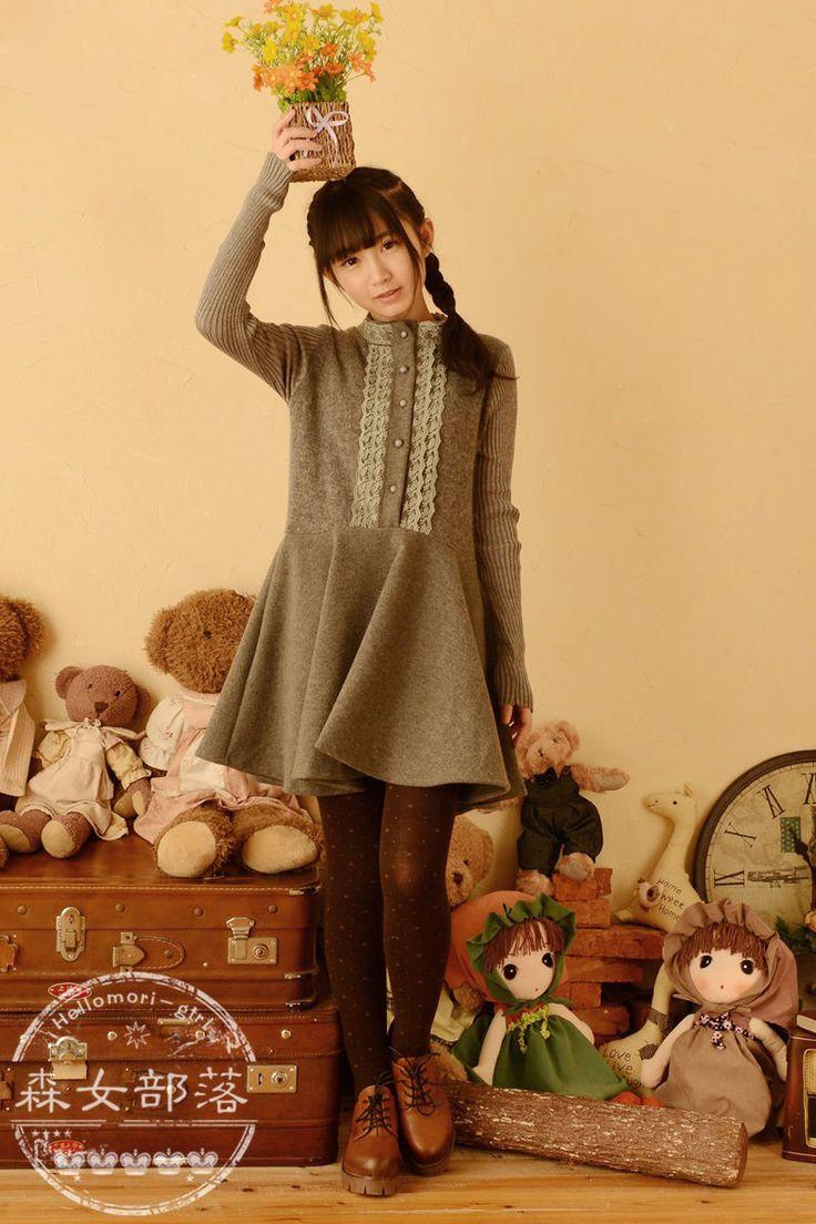Moriville - Lace Trim Knit Sleeve A-Line Dress #morikei, #mori, #morigyaru