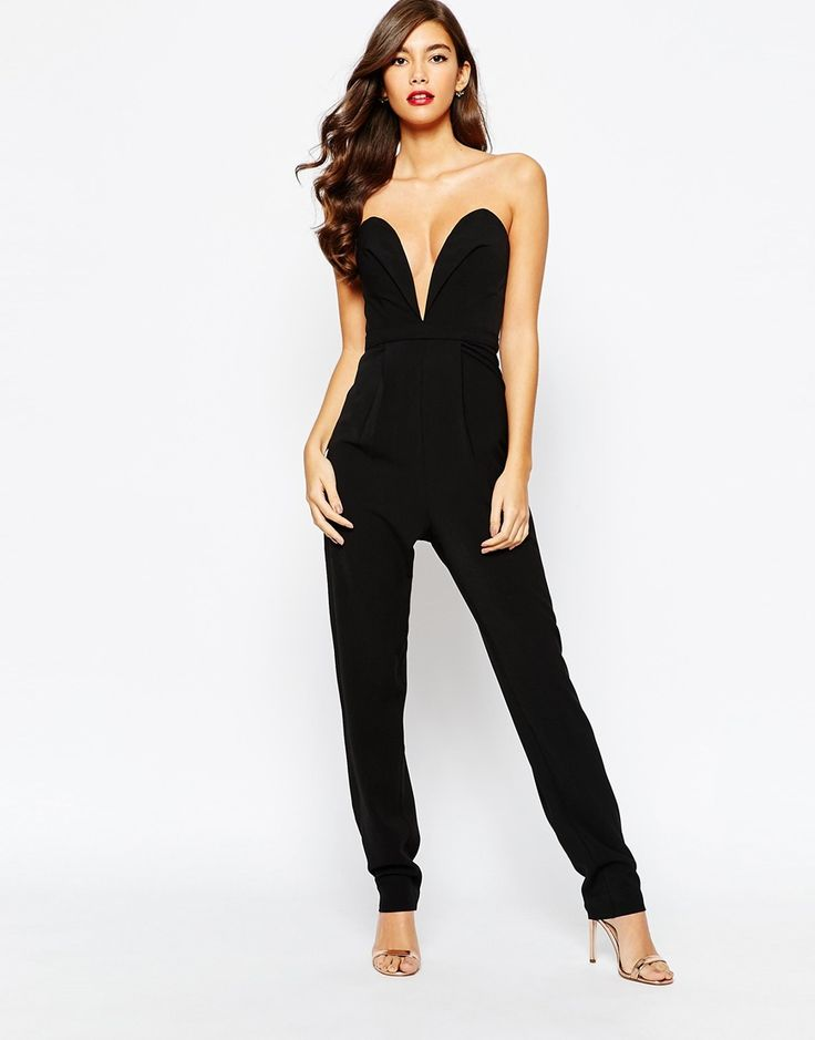Jarlo Valentina Deep Plunge Tailored Jumpsuit