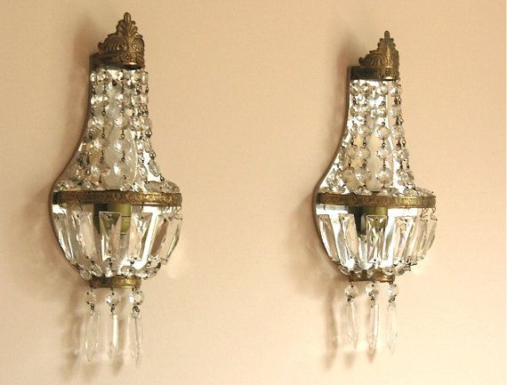 34 best sconces images on pinterest lamps light fixtures and pair of divine french antique sconce with crystals french wall light empire style french wall light mozeypictures Images