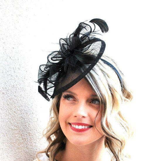 Fascinator Black Fascinator Black Hat Womens Tea by QueenSugarBee