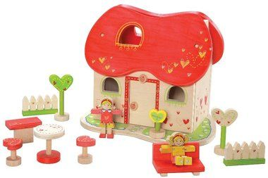 Tweet this Toys2Learn Product!             Fairy Tale Dolls House   Our charming, detailed doll house inspires any child's creativity as they play-out the stories they imagine. Includes two wooden dolls, trees, welcome sign, table and chairs, sofa, fence and front opening facia with lift-off roof for easy access.      Outer Dimensions  L: 45.50cm W: 29.00cm H: 51.00cm