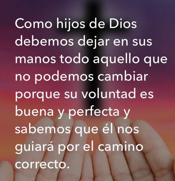 Como hijo de Dios deja todo aquello que no puedas cambiar en sus manos, porque su voluntad es buena y perfecta y sabemos que El guiará por el camino correcto.