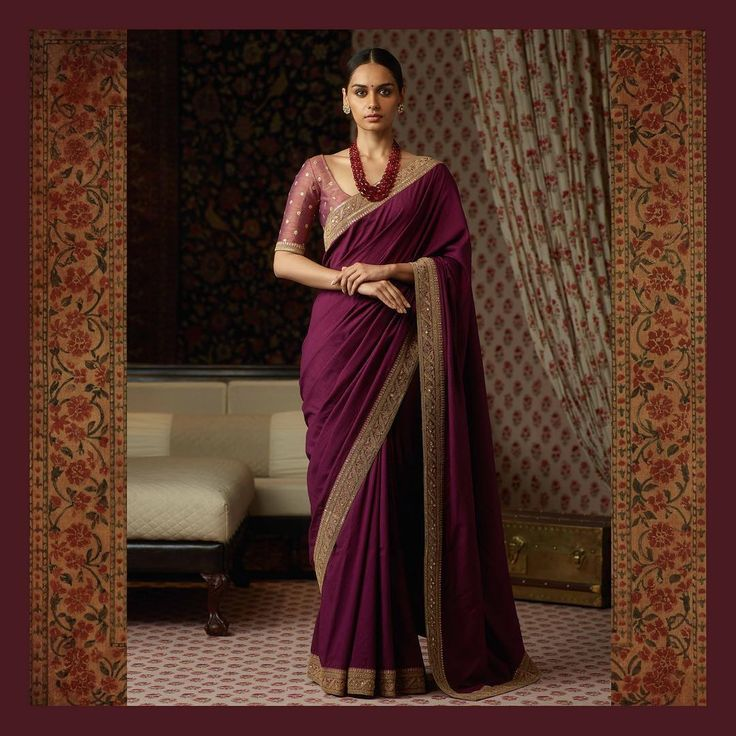 Aubergine tussar georgette saree meticulously hand-embroidered by master craftsmen from West Bengal. Accessorised with pieces from the Sabyasachi Jewelry collection. For all jewellery related queries, kindly contact sabyasachijewelry@sabyasachi.com #Sabyasachi #SabyasachiJewelry #TheWorldOfSabyasachi