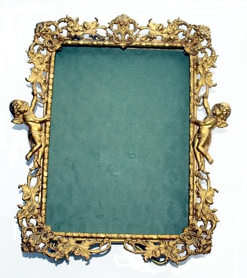 Antique french ormolu filigree cherub picture frame for How to make vintage frames