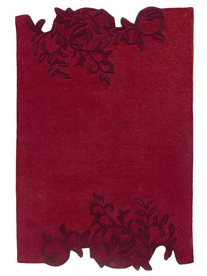 Das bildschöne, edle Blätter-Reliefmotiv wirkt durch den Hoch-/Tief-Effekt sehr ausdrucksvoll. Sehr hochwertig: der weiche, dichte Flor ist handgetuftet. 100% Schurwolle....
