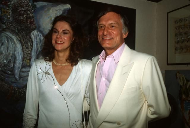 Hugh Hefner with his daughter Christie Hefner at the re-opening of the Playboy Club in New York City on Oct. 29, 1985. (Yvonne Hemsey via Getty Images)