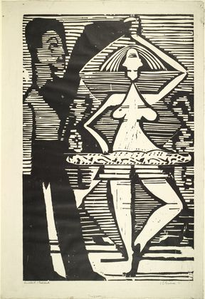 Dancing Couple (Tanzpaar) Ernst Ludwig Kirchner (German, 1880-1938) (1932). Woodcut