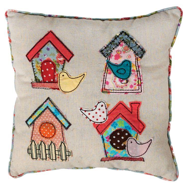 Patchwork Birdhouse Cushion | DotComGiftShop