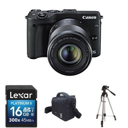 Canon EOS M3 Mirrorless Camera Kit with EFM 1855mm and EFM 55200mm Image Stabilization IS STM Lenses 16GB Memory Card Tripod and Bag -- Read more reviews of the product by visiting the link on the image.