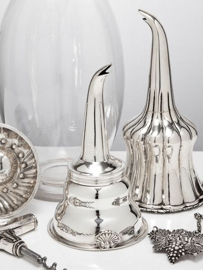 Wine-related antique silver - funnels for filtering, corkscrew & 'waiter's friend', wine & bottle labels, wine or claret jug from a selection at www.silvervaultslondon.com