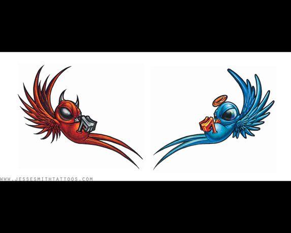 Angel And Devil Tattoos Devil Angel Swallows Tattoojpg Picture Tattoos Pinterest Devil