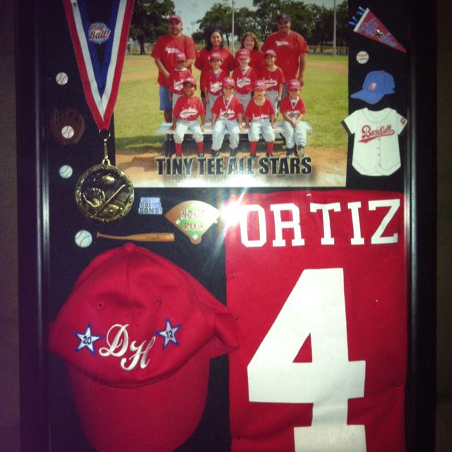 Great idea from a pinner:  My son's 1st All-star baseball team shadow box