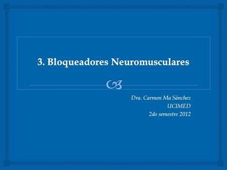 Dra. Carmen Ma Sánchez UCIMED 2do semestre 2012. Unión neuromuscular: placa motora terminación presinaptica, espacio sináptico, fibra muscular.