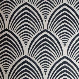Tissu Edo noir fond ficelle x 32cm