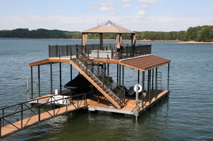 boat dock | Wahoo Docks CAT 5 Double Slip Floating Dock. With a slide and a diving board on top