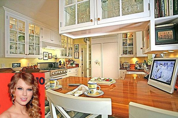 Taylor Swifts' kitchen- I love the counter tops..they look like a flooring pattern