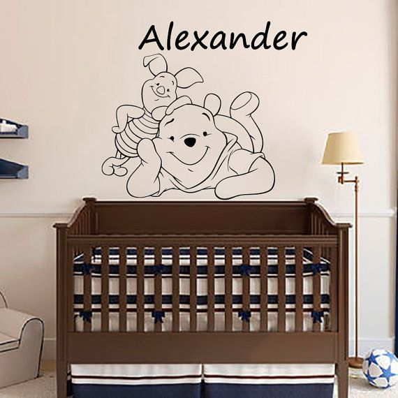 Personalizzato nome Wall Decals Winnie i Pooh e Pimpi Vinyl Decal Sticker Boy vivaio camera da letto camera Decor Home Sala giochi arte murales MN542