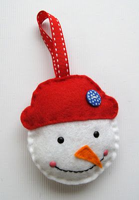 step by step felt snowman ornament for Sam