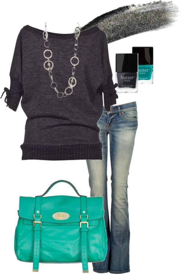 teal and grey...super cute outfit