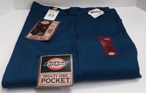 Dickies Mens Work Pants Royal Blue Double Knee Loose Fit Cell Phone Pocket 85283 #Dickies