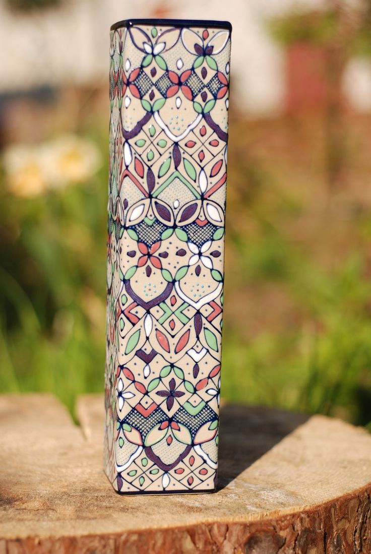 Mexican Tall Hand Painted Prism Vase