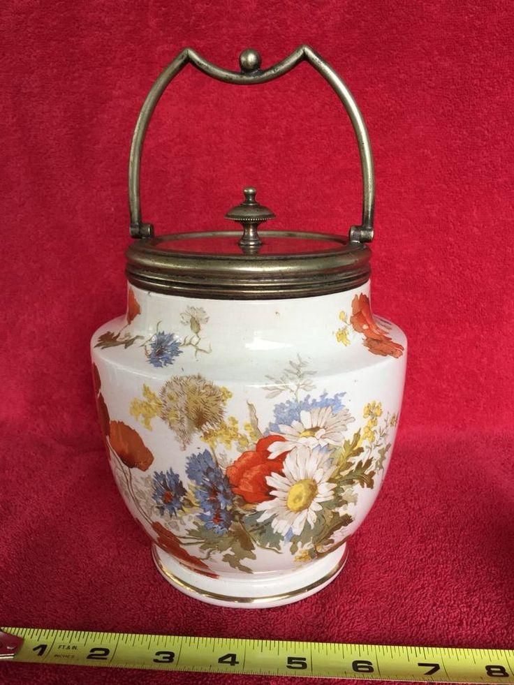 Old Vintage Antique Floral Flower Cracker Biscuit Jar w