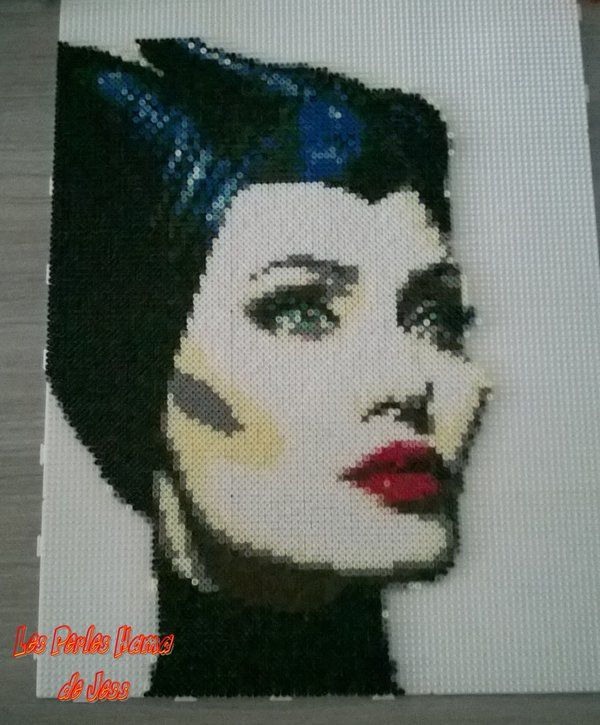 for beebs - Maleficent portrait (Angelina Jolie) hama perler beads by Jessica Bartelet - Les perles Hama de Jess
