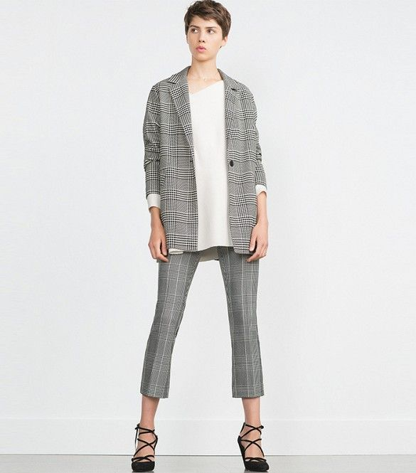 Zara Long Blazer, Zara Checked Trousers: