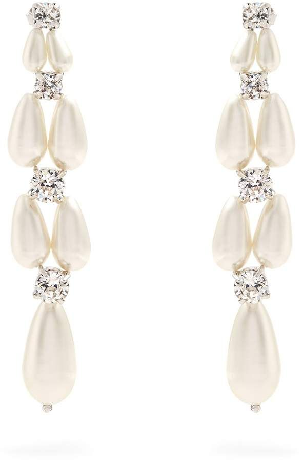 Simone Rocha Faux Pearl And Crystal Drop Earrings Ad