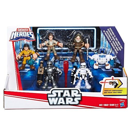 """Christmas """"2017"""" Sized right for young Jedi, the Galactic Heroes Star Wars figures can help kids imagine bringing a galaxy far, far away into their world! Power up the Star Wars figures with removable arms that snap on and off and prepare them for battle! Kids can pretend to engage in fun intergalactic combat between the heroic Resistance and the villainous First Order, pitting Rey (Resistance Outfit), Luke Skywalker, R2-D2, and Rose (Resistance Tech Outfit) figures against Captain Phasma…"""