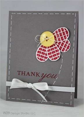 I LOVE this card! So easy to make just by tracing the shapes with a pencil 'til you get them right and then use fun paper and a button.  Any color marker will make cute faux stitching around the edges.