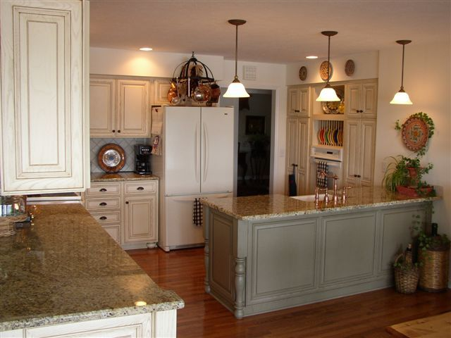 sink peninsula finished sage coffee glaze color all cabinets crystal white door knobs kitchen for