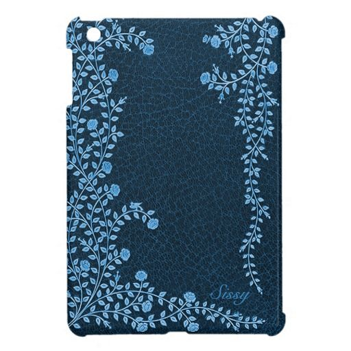 Blue Floral Vines Leather Look iPad Mini Case