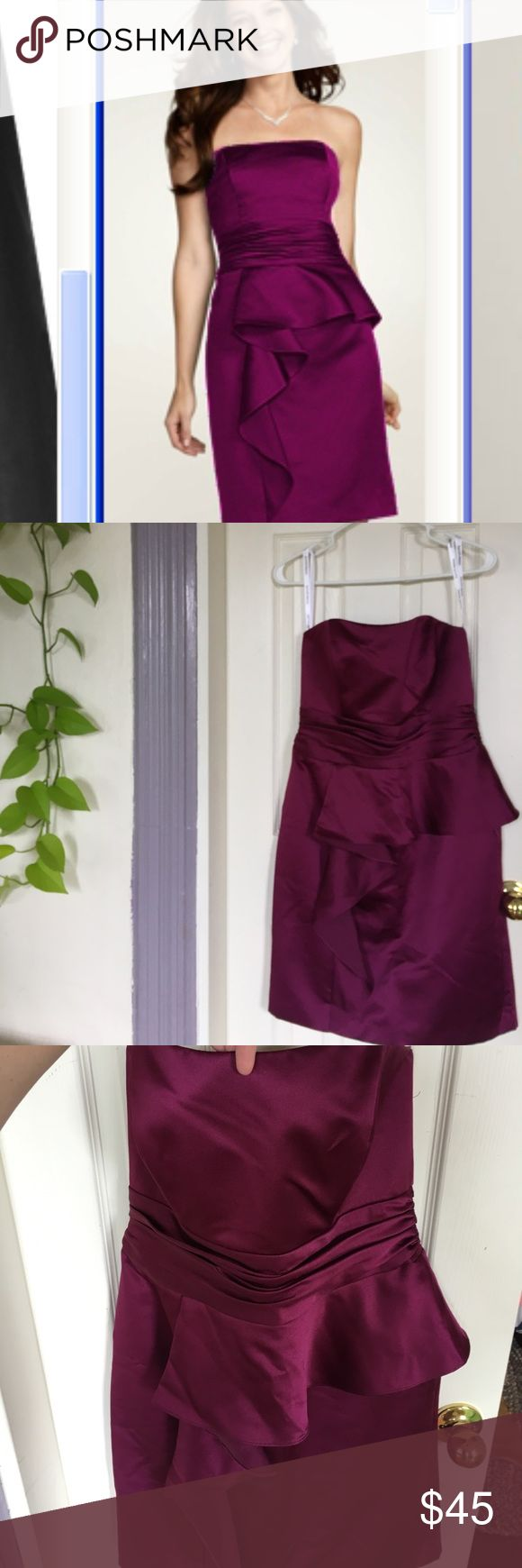 David's Bridal Sangria strapless dress. Size 8 Satin David's Bridal bridesmaid dress. Color: Sangria, Size 8. Only wore this once (for a wedding). Perfect condition and no stains, rips, etc. Just needs a steaming and it's good to go! davids bridal Dresses Wedding