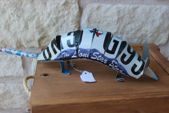 Texas Armadillo Licence Plate Art Scuplture by JAMArtCreations