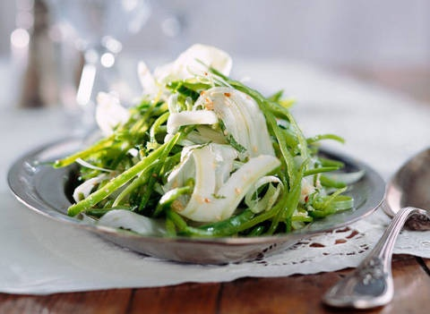 Warm snow pea and fennel salad: Fennel can be shaved using a potato or vegetable peeler. Trim the outer sections from the bulb, then run the peeler along the widest section to produce shaved pieces of fennel.