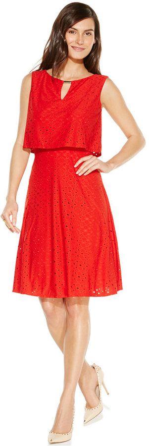 Alfani Petite Crop-Top Eyelet Hardware Dress