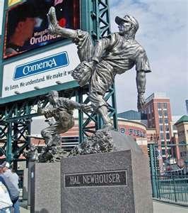 One of MANY baseball hero statues inside Comerica Park