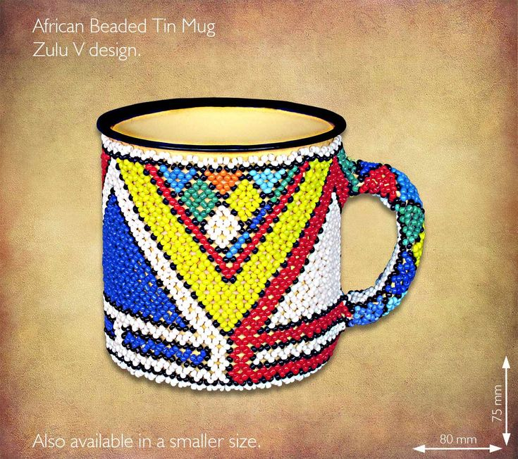 African Beaded tin mug - Zulu V design. Traditional African Beadwork handmade in South Africa by highly skilled Zulu Beadworkers. Wide range of African Beadwork designs available on our website www.earthafricacurio.com