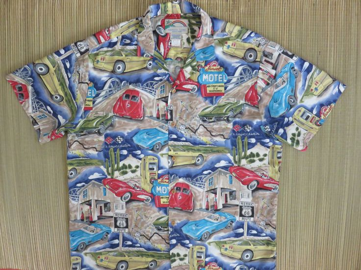 Route 66 Hawaiian Shirt PARADISE FOUND Chevy Corvette Road Trip Vintage 80s California Style Car Shirt Mens - L - Oahu Lew's Shirt Shack by OahuLewsShirtShack on Etsy