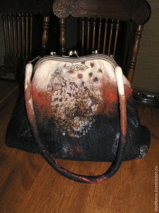 """Купить сумка валяная """"леопард"""" - коричневый, звериная расцветка, леопардовый принт, подарок женщине"""