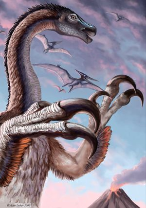 Therizinosauridaes. This family of strange, mysterious theropods was notable for their long necks and their large claws. However, unlike most other theropods, they were herbivores (or at least primarily). Some of them may have had feathers. The genus that the family is named after, Therizinosaurus, is actually only known from a few fossils, but its claws were quite large, likely reaching a meter in length