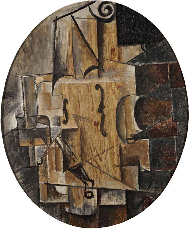 Pablo Picasso - Still Life with Violin (Toile Ovale), 1914