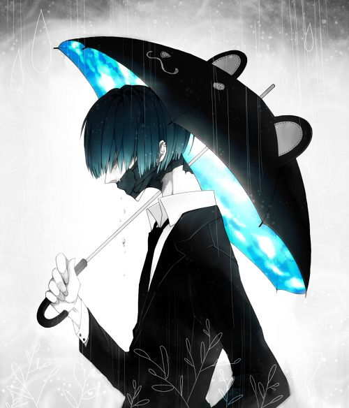 Anime guy with an awesome umbrella... Bit wait his mouth ...