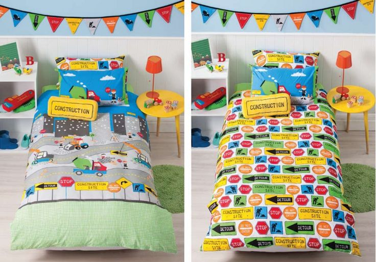 This cool Under Construction Kids Duvet Cover by Squiggles is a bold, bright duvet cover that features road safety signs and trucks all busy at work. This bed cover is also fully reversible so you can change the look by simply displaying the reverse side.